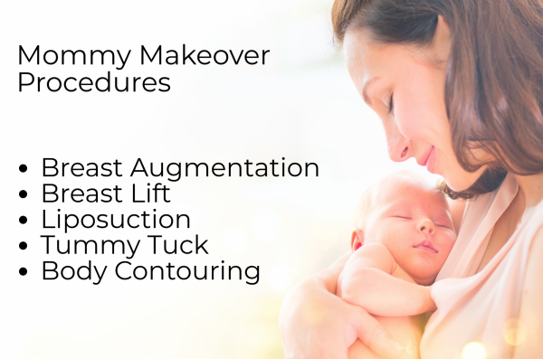 Graphic showing mother and baby outlines mommy makeover procedure options