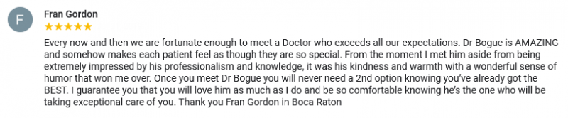 A great review for Boca Raton plastic surgeon Dr. David Bogue